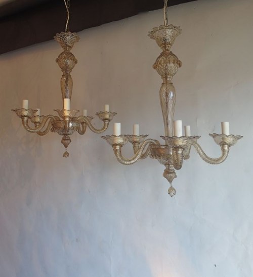 Pair of bronze glass  murano antique chandeliers - Main image