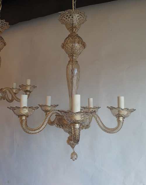 Pair of bronze glass  murano antique chandeliers - image 2