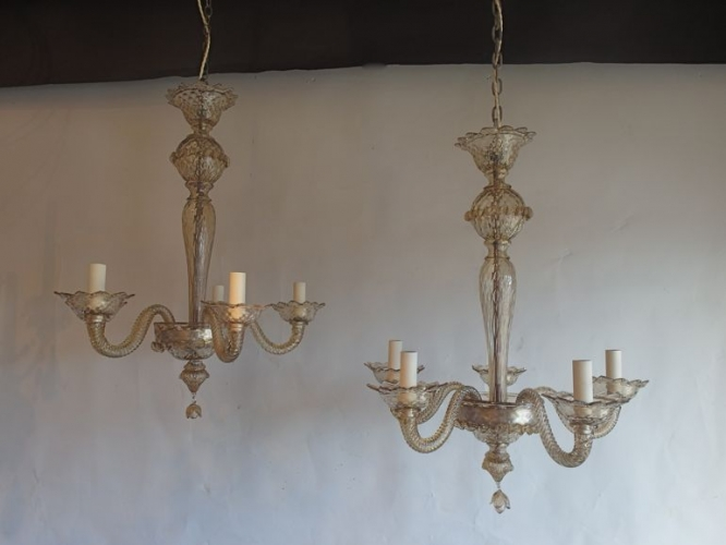 Pair of bronze glass  murano antique chandeliers - image 3
