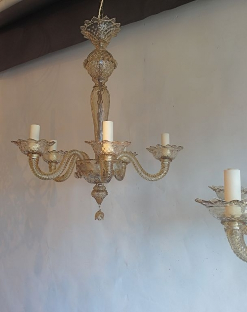 Pair of bronze glass  murano antique chandeliers - image 4