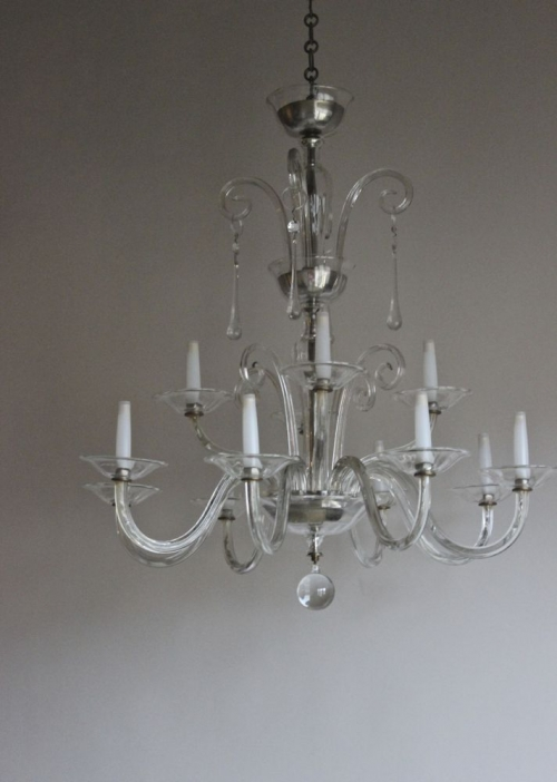 Two glass Antique Chandeliers - both beautiful - image 2