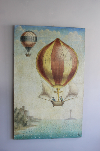 A  whimsical painting of 19th C ballooon rides