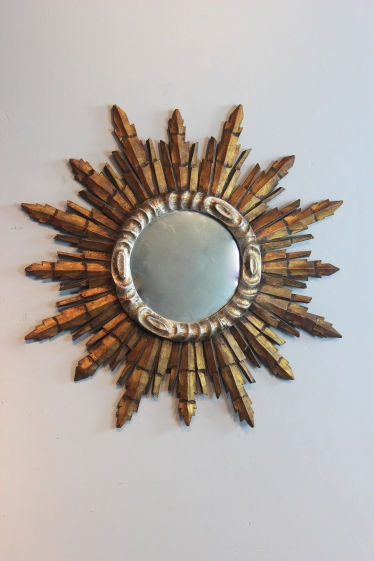 Circular French giltwood and silver mirror