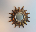 Circular French giltwood and silver mirror - Main
