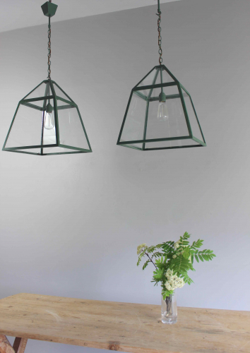 English Country kitchen lanterns  in spring Green