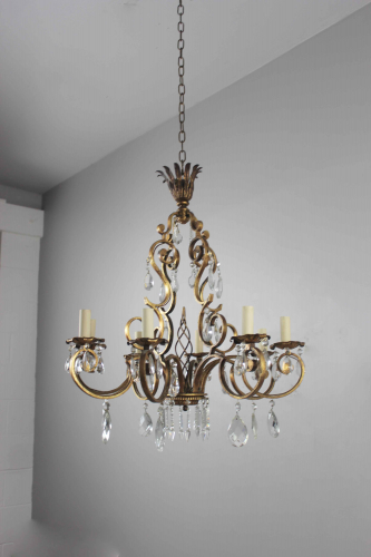 Gilt metal and cut glass chandelier