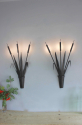 Large scale pair of forged iron bullrush Sconces - Main
