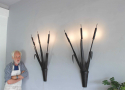 Large scale pair of forged iron bullrush Sconces - picture 3