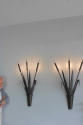 Large scale pair of forged iron bullrush Sconces - picture 5