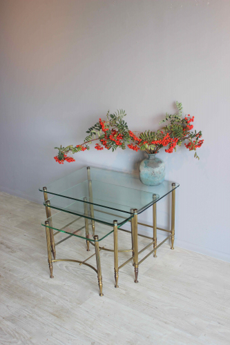 Low profile clear glass  side tables