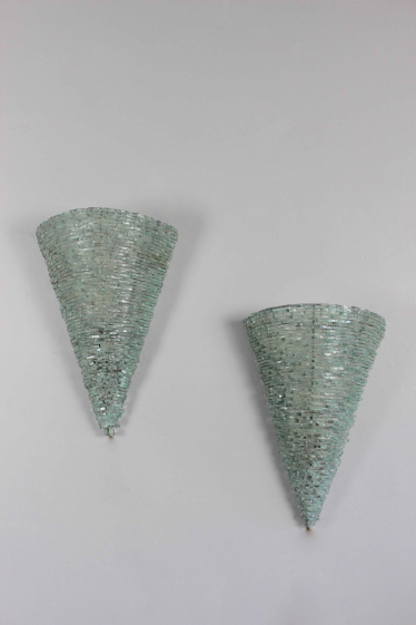 Pair mid century glass wall sconces
