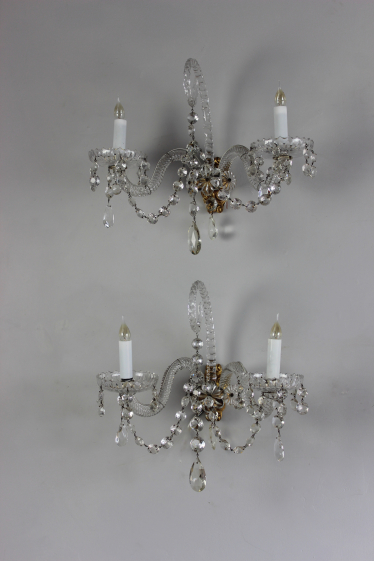 Pair of cut glass wall sconces