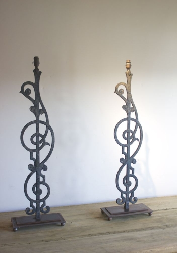 Pair of French balustrade lamps