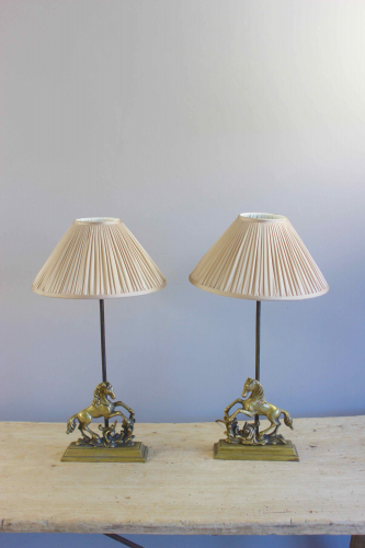 Pair of Valenti horse motif bedside lamps