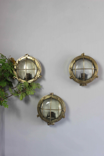 Set of 3 Brass bulkhead lights for outside use