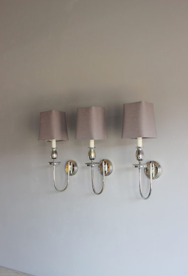 Set of 3 silver plated wall sconces
