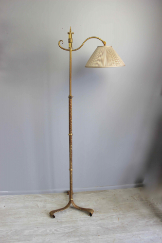 Spanish gilt metal  adjustable height floor lamp
